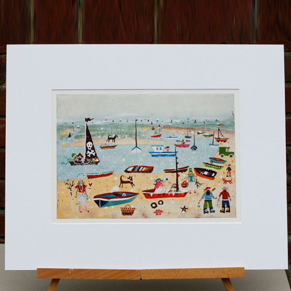 Barnacle Regatta, decorated print by Norfolk based artist Lucy Loveheart
