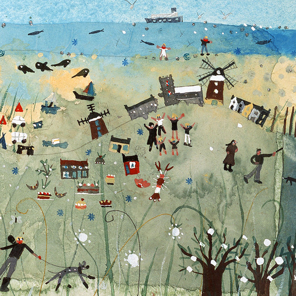 The North Norfolk Coast. Hand decorated and signed print by Norfolk based artist Lucy Loveheart