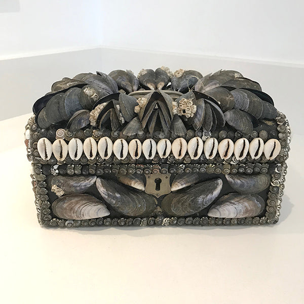 Decorative box using mussel shells by Carolyn Brookes Davies. Carolyn