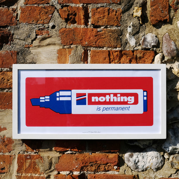 Nothing is Permanent - red and blue (framed)