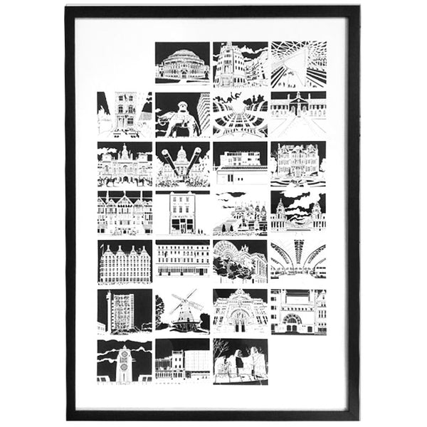 A-Z of London - Print of original paper cut, framed
