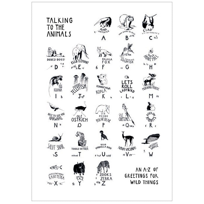 A2 Print - black on white - of Talking to the Animals by Norfolk based artist Ruth Howes
