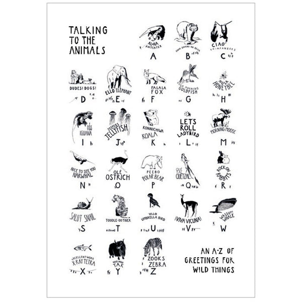 A1 Print - black on white - of Talking to the Animals by Norfolk based artist Ruth Howes