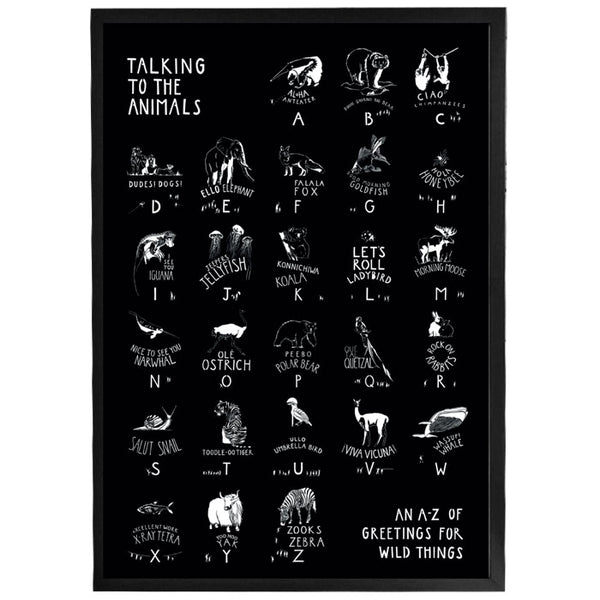 Talking to the Animals - White on Black Print, framed