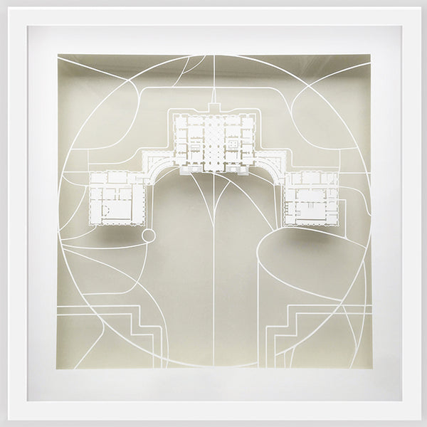 Hand cut shows plan of Houghton Hall by Norfolk artist Ruth Howes