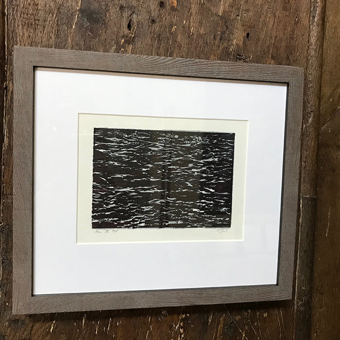 SEA IV. Framed woodcut print by Norfolk based artist Pandora Mond