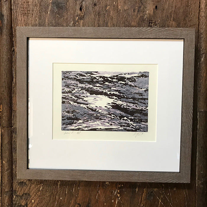 SEA I. Framed woodcut print by Norfolk based artist Pandora Mond
