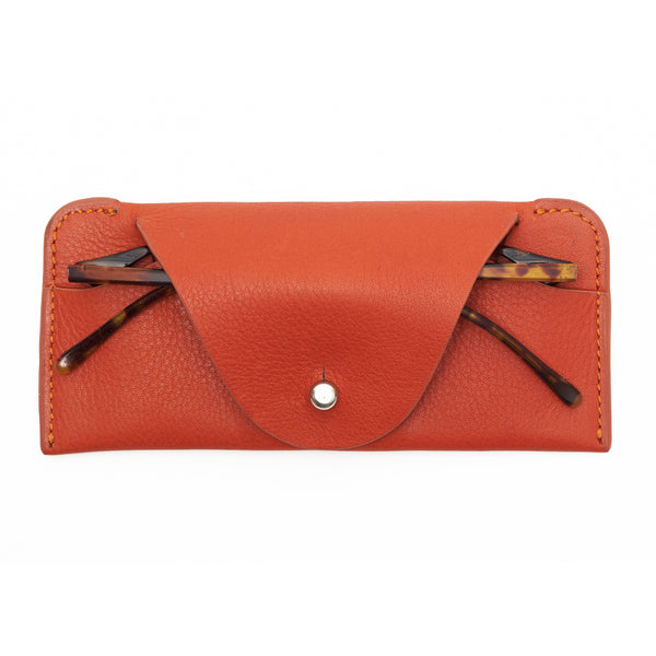 Soft leather case for glasses - Orange