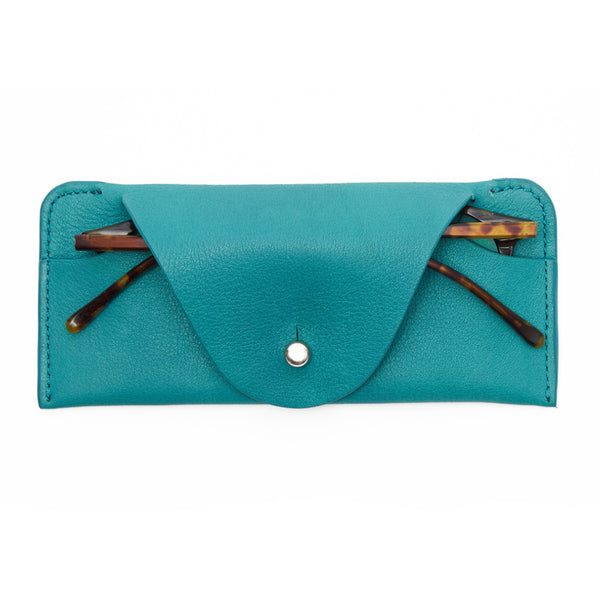 Soft leather case for glasses - Teal