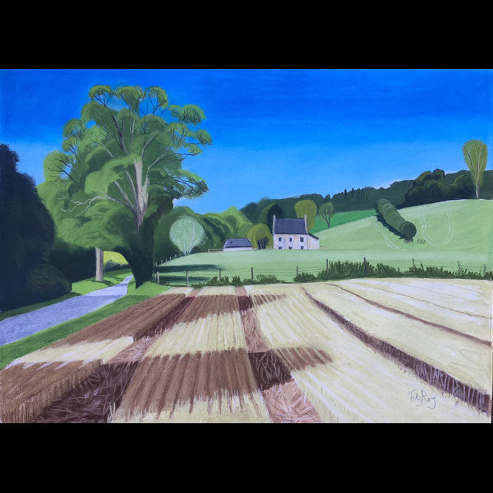 Stubble Field. Landscape painting by Norfolk based artist Cornelia Fitzroy