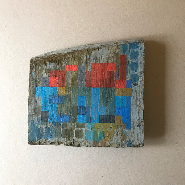 Untitled III. Painting on weathered board by Norfolk artist Susi Joel
