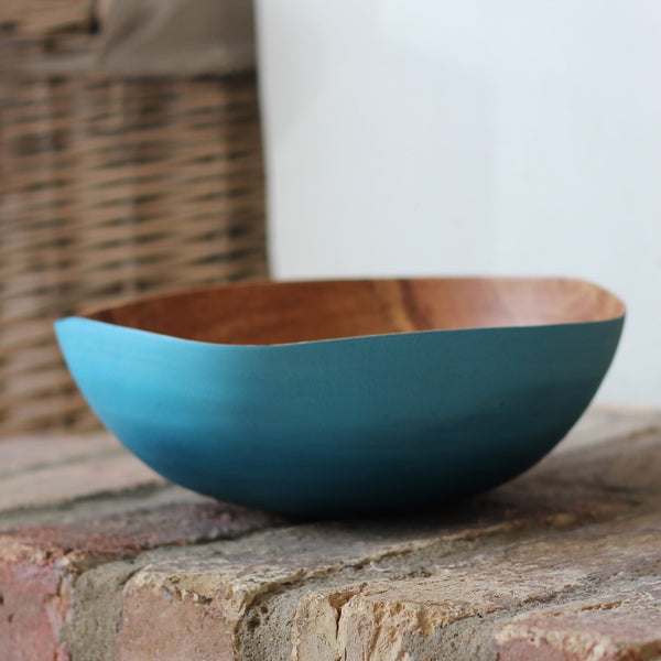 Painted Thin-wall bowl from Storm Fallen Oak (Verdigris)