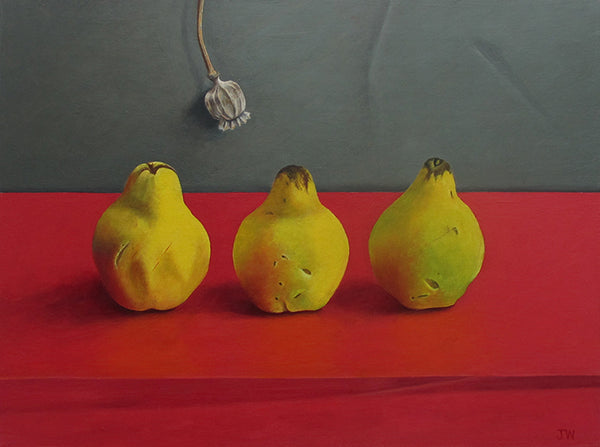 Three Quinces and a Poppy Head. Still life painting by Norfolk based artist Joceline Wickham
