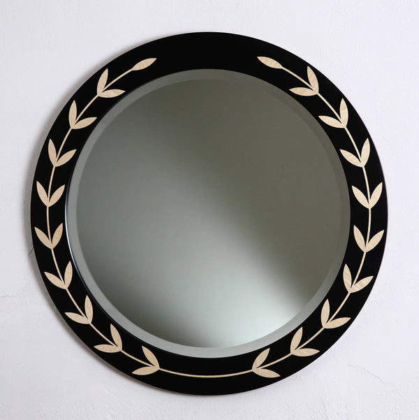 Garland Mirror - black with sycamore garland