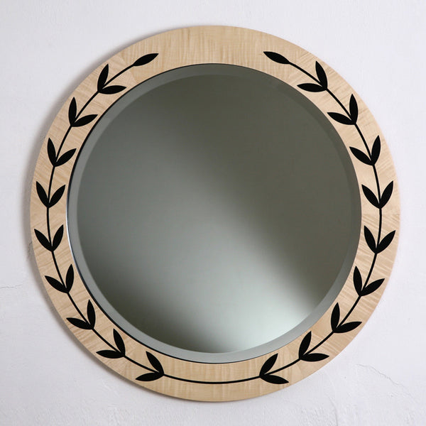 Garland Mirror - sycamore with black garland