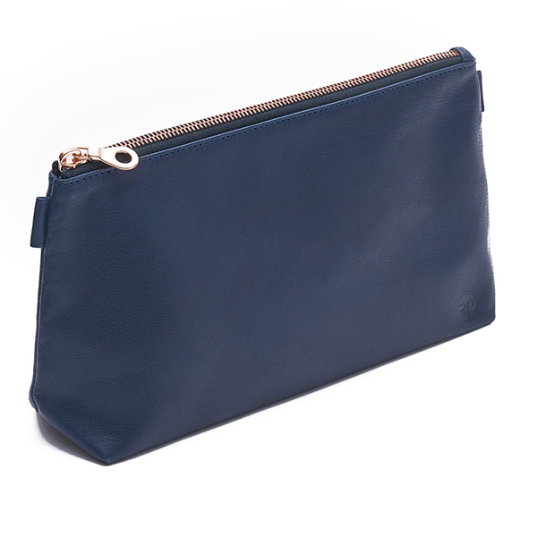 Washbag - Navy. Luxury leather goods by Norfolk based designers Richings Greetham