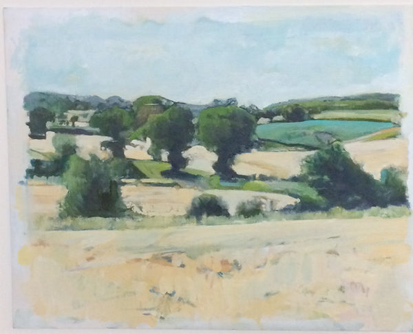 Matlaske View, oil on board by Norfolk based artist Will Cutts.