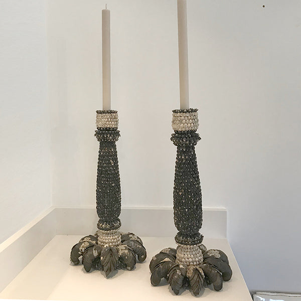 A Pair of Shell Candlesticks