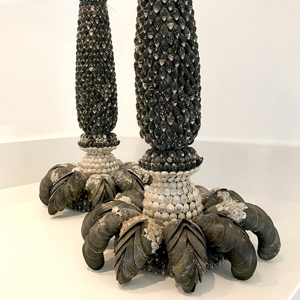 Candlesticks decorated with seashells by Carolyn Brookes Davies