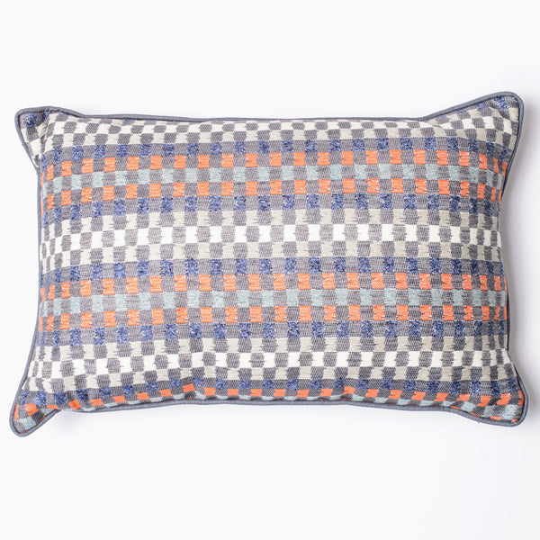 Heather check navy/paprika cushion