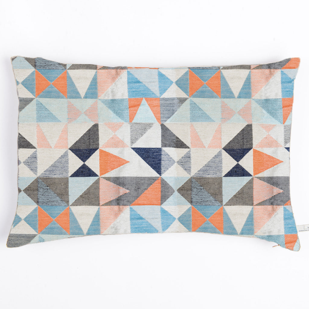 Southwold Geometric cushion – navy/paprika