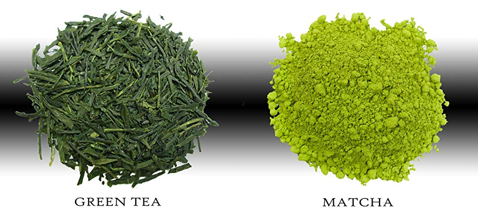 Image showing the difference between green tea leaves and matcha powder