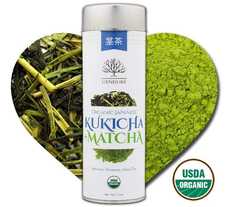 Organic Kukicha+Matcha - Japanese Loose Leaf Green Tea - USDA 100% Certified