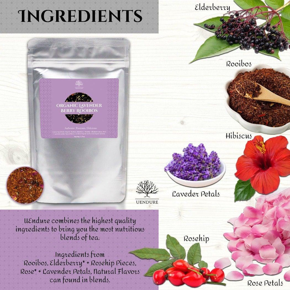*New* Organic Lavender Berry Rooibos Tea  50g / 1.75 oz - UEndure