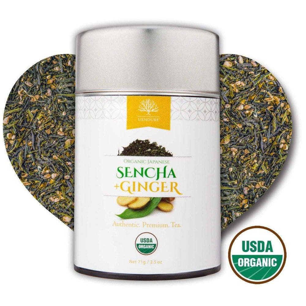Organic Japanese Sencha+Ginger Loose Leaf Tea - 100% USDA Certified