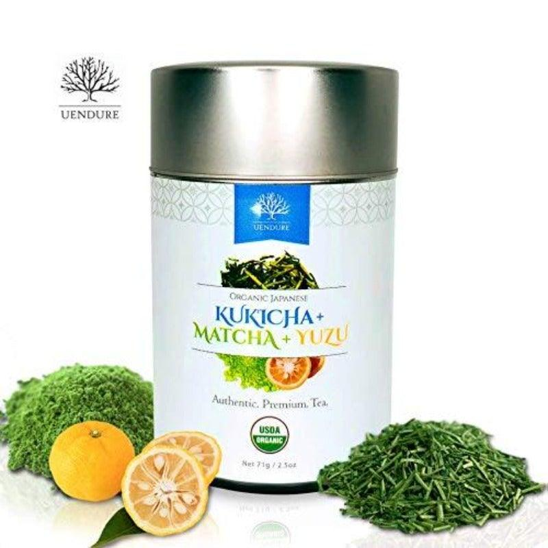 USDA Certified 100% Organic Japanese Kukicha Green Tea With Matcha Infused with Yuzu