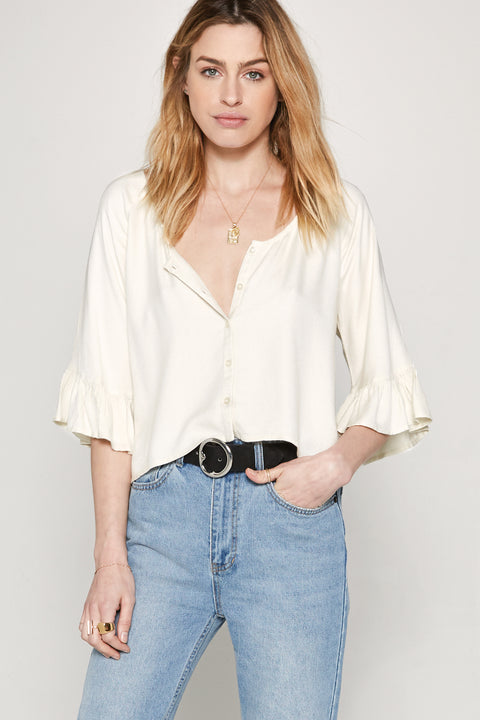 Amuse Society Cloudscape Woven. White Button Down Blouse
