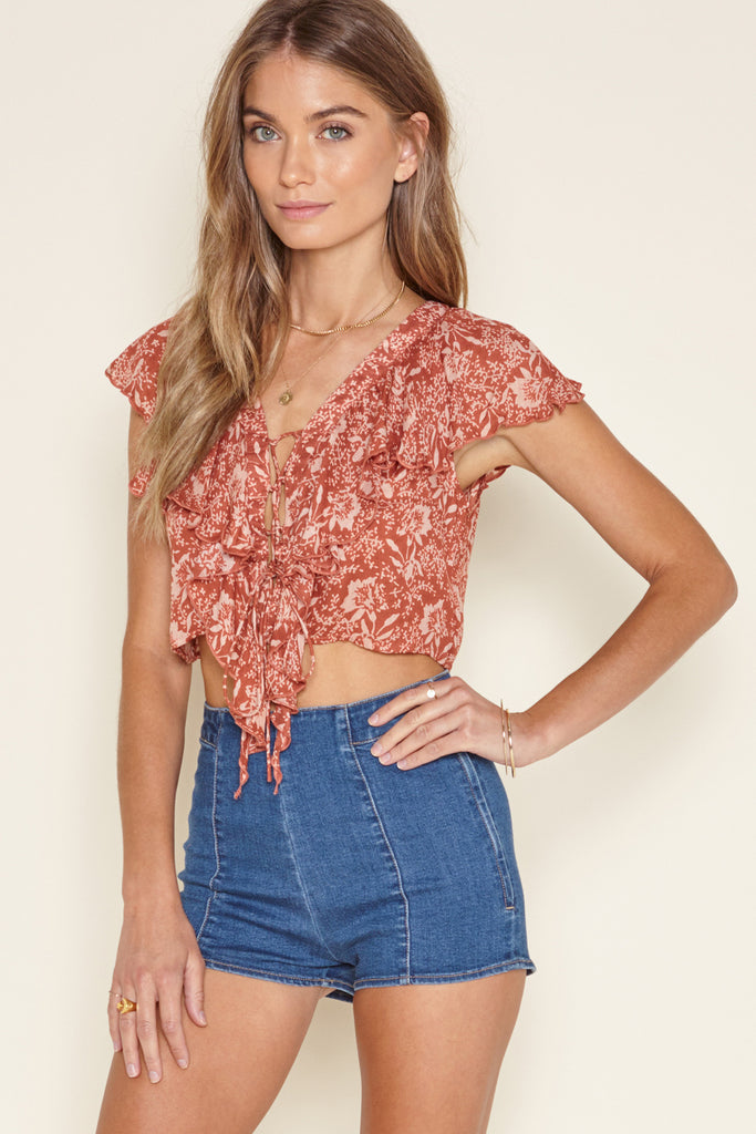 Woven Crop Top Printed Short Sleeve Top