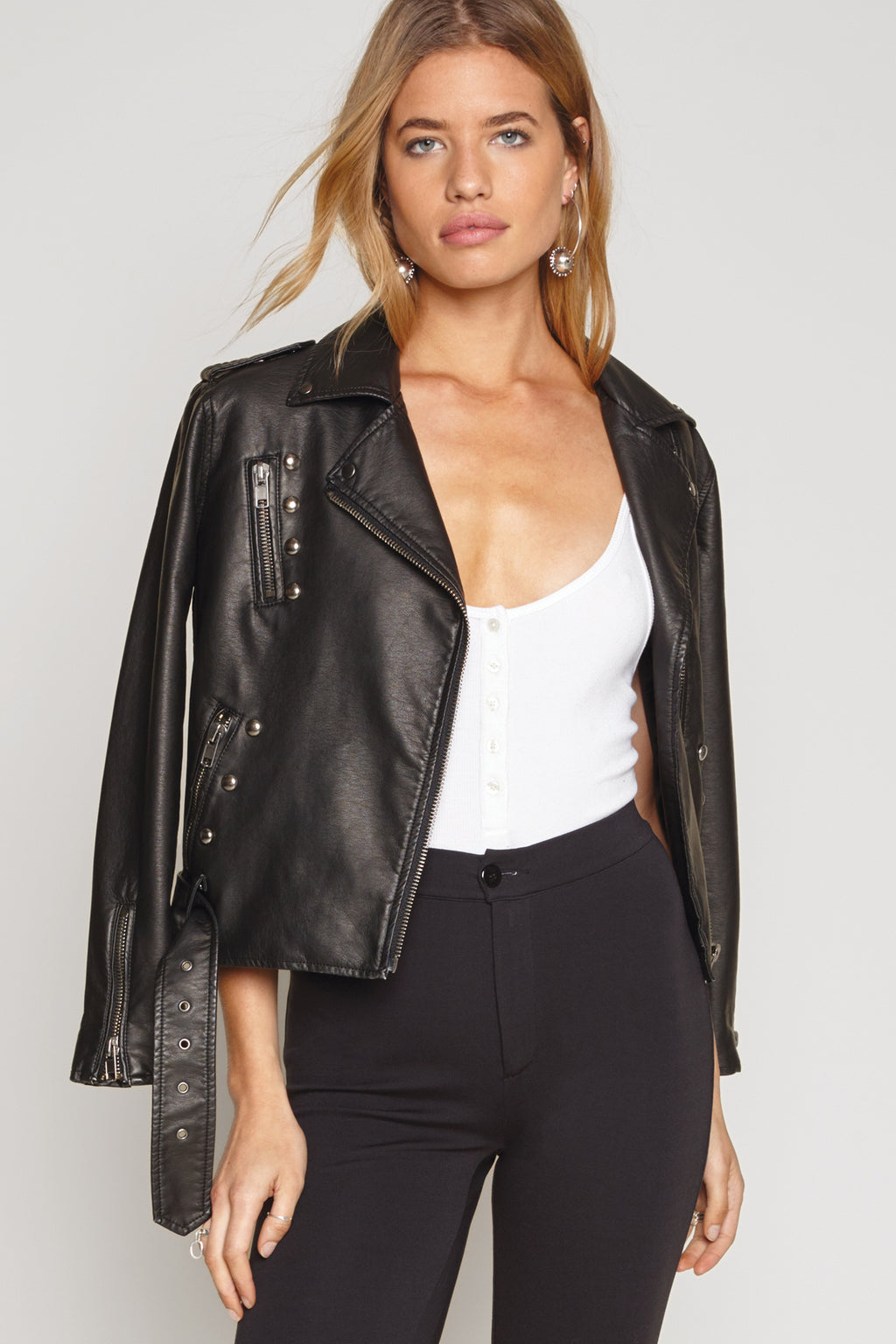 Black Leather Bomber Jacket from Amuse Society