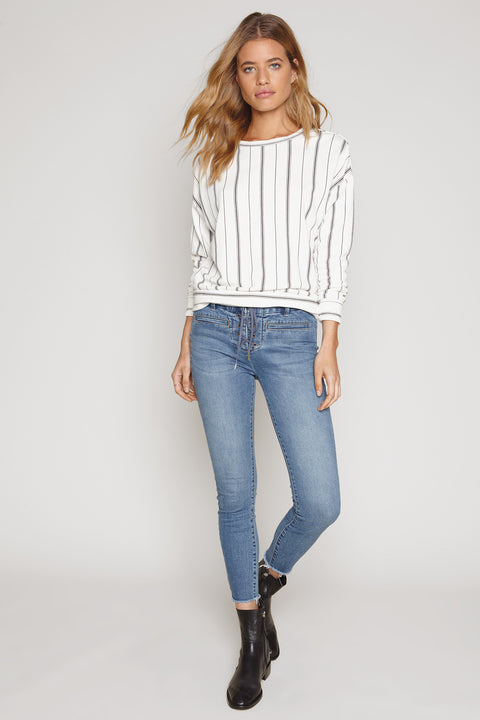 Amuse Society White Sweatshirt with stripes