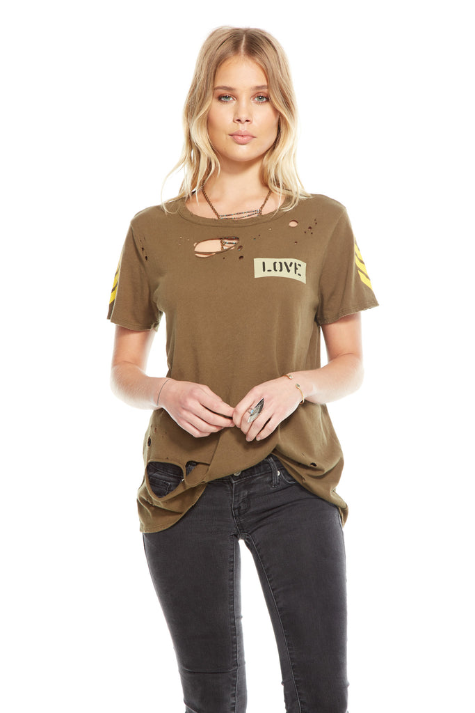 Graphic Tee Distressed Military