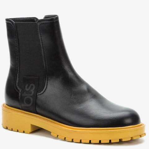 Betsy Black Faux Leather Contrast Sole Chelsea Boot