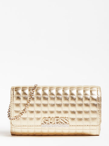 GUESS MATRIX QUILTED LAMINATED CLUTCH