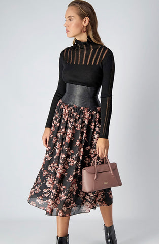 AXEL MIDI SKIRT WITH FLORAL PRINT