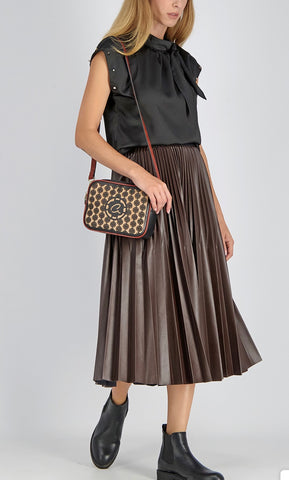 AXEL PLEATED FAUX LEATHER SKIRT