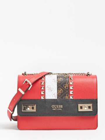 GUESS KATEY LOGO STRIP CROSSBODY