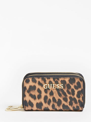 GUESS LALIE ANIMALIER MINI WALLET