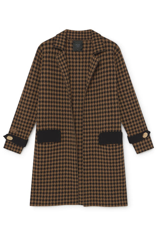 SKATIE KNIT COAT WITH HOUNDSTOOTH PRINT