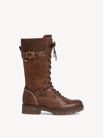 TAMARIS COGNAC CALF LENGTH MILITARY BOOT