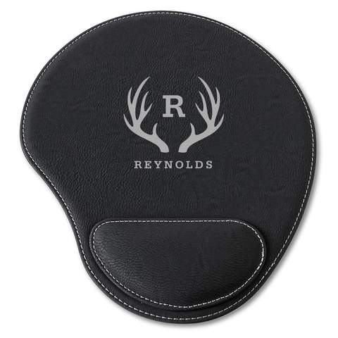 Black Faux Leather Personalized Mouse Pad