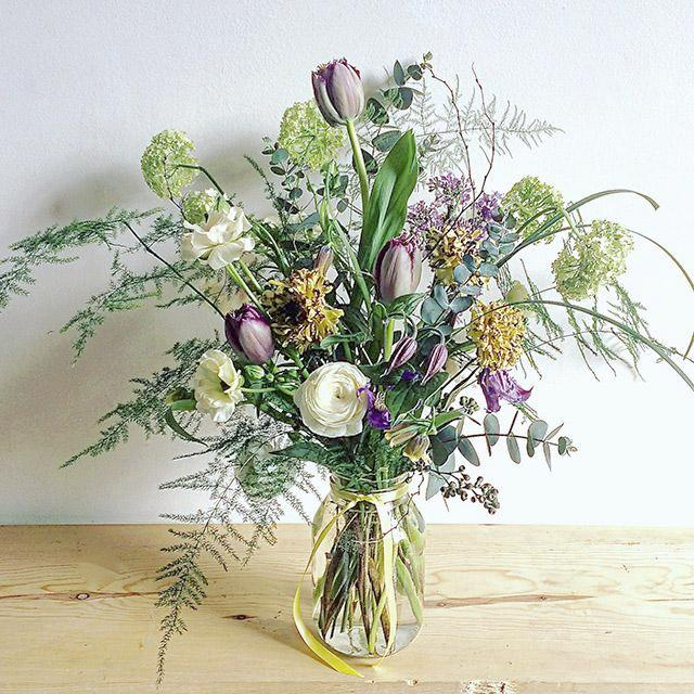 bouquet full of spring flowers and foliage