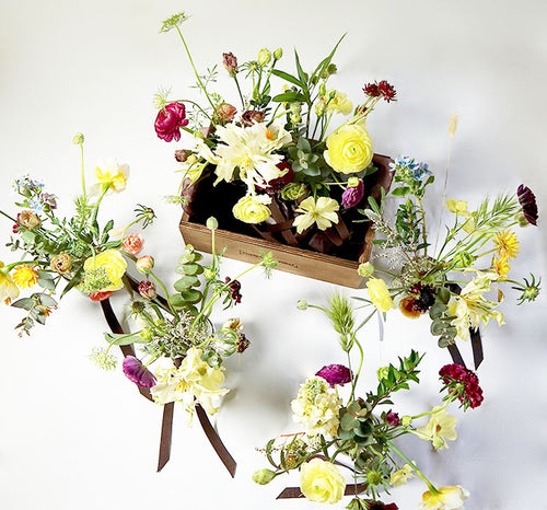This arrangement is a special take on our popular 'The English Garden' and is a selection of seasonal spring flowers set in either 4 or 6 jam jars, reflecting the natural glory and color of an English garden in springtime.