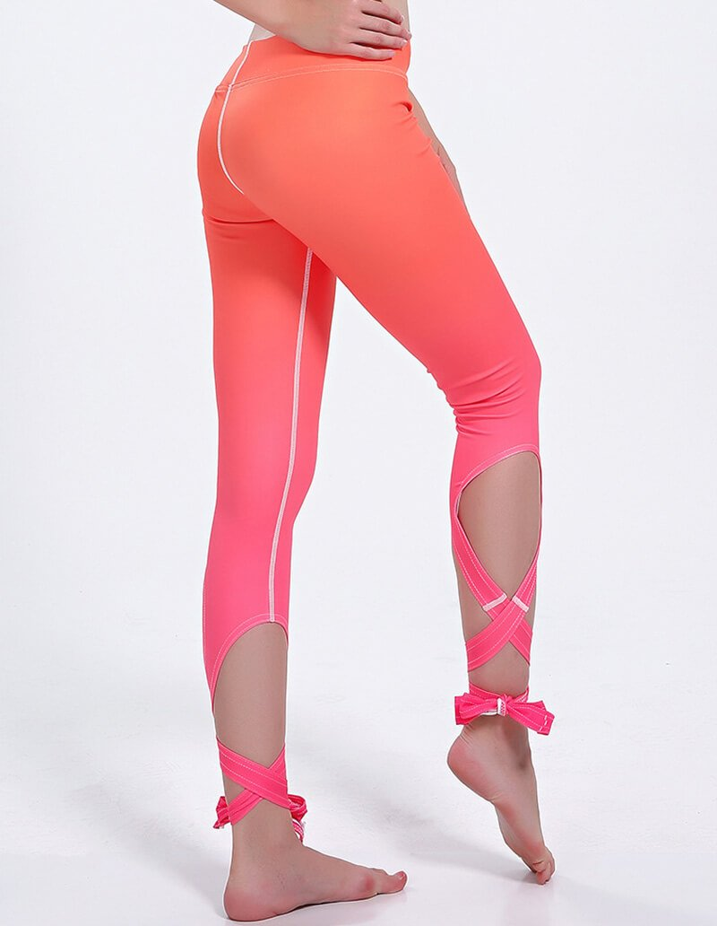 Orange Ombre Print Irregular Ballerina Wrap Dance Yoga Active Leggings