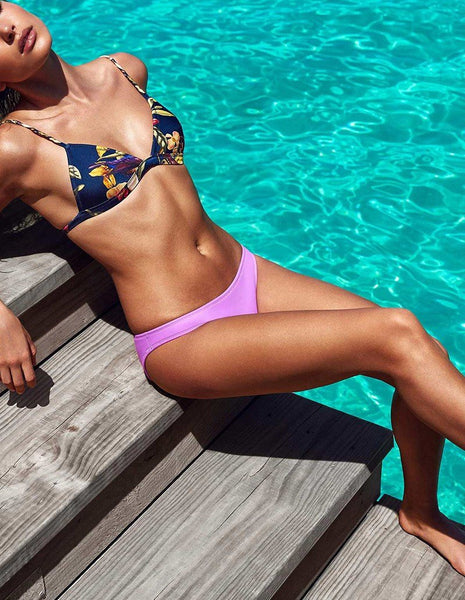 Black Padded Floral Print Bikini Top And Purple Bottom Swimsuit