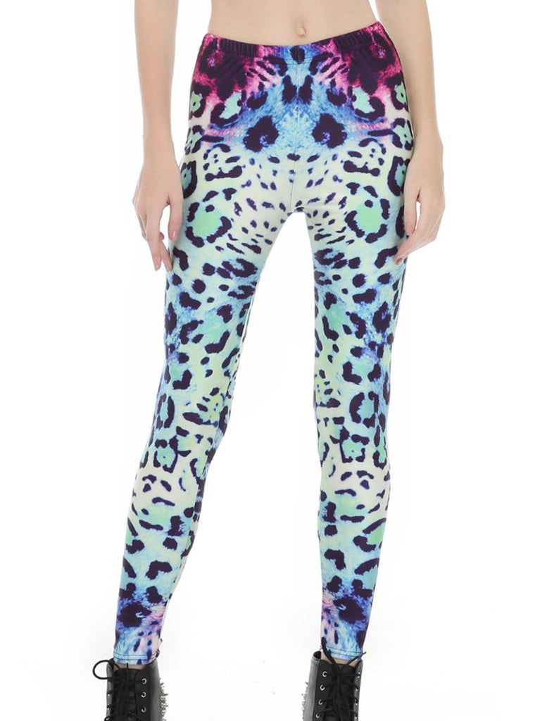 Blue Leopard Printed Leggings