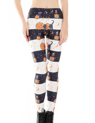 Halloween Pumpkin Lantern Printed Leggings